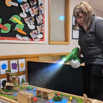 cleaner disinfecting toys in childcare centre hobart