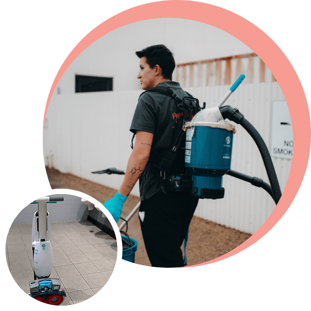 professional cleaner with cleaning equipment